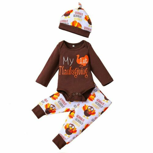 Infant Newborn Baby Girl Boy Christmas Clothes Jumpsuit Romper+Pants Outfits Set