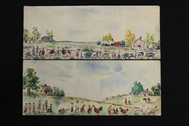 2 Folk Art Watercolor Prints Chickens Farm Landscape Vintage Naive Artist Bimson