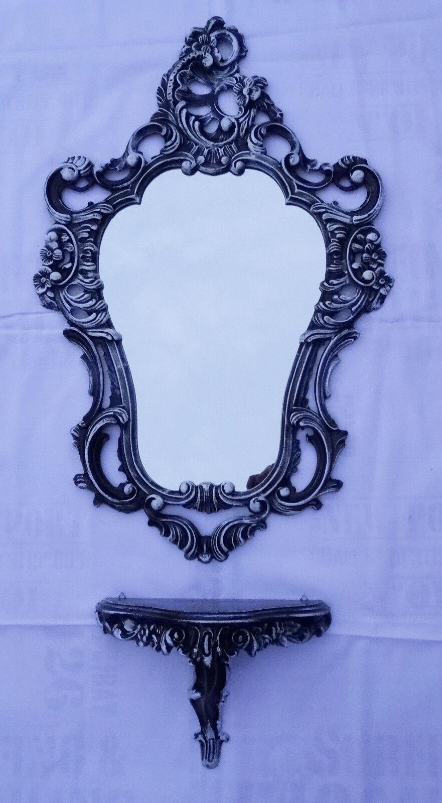 Set con Negro blancoo Espejo de parojo + eMPLAZAMIENTO CONSOLA 50x76 antigua