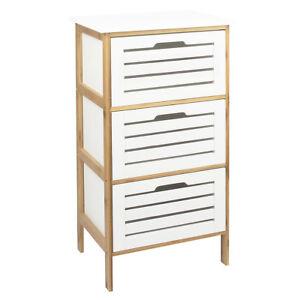 Schubladenkommode-Bambus-MDF-weiss-Badezimmerkommode-Badschrank-Schrank-Kommode