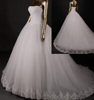 New White/Ivory Lace Ball Wedding Dress Bridal Gown Size 4+6+8+10+12+14+16+18+