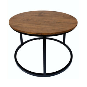 Details About Industrial Urban Chic Black Metal Frame Wooden Top Round Coffee Table