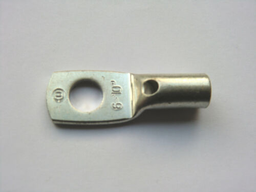 10 Rohrkabelschuhe 10mm² M6 Crimpkabelschuhe Kabelschuh unisoliert mit Sichtloch