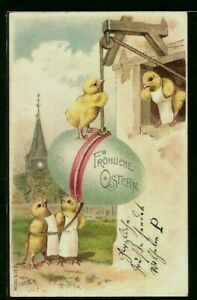 Yellow-Chicks-Pulling-Big-Egg-in-Window-Antique-Easter-Postcard-German-p998