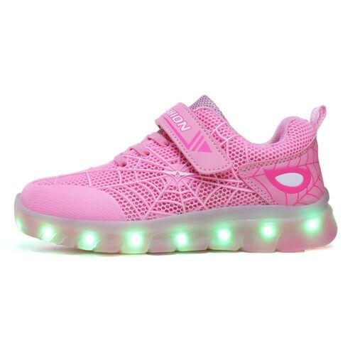 USB LED Light Up Kids Boys Girls Trainers Spiderman Sneaker Children Shoes Gift