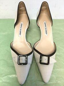 Manolo-Blahnik-women-shoe-with-buckle-tissus-leather-beige-cream-size-39