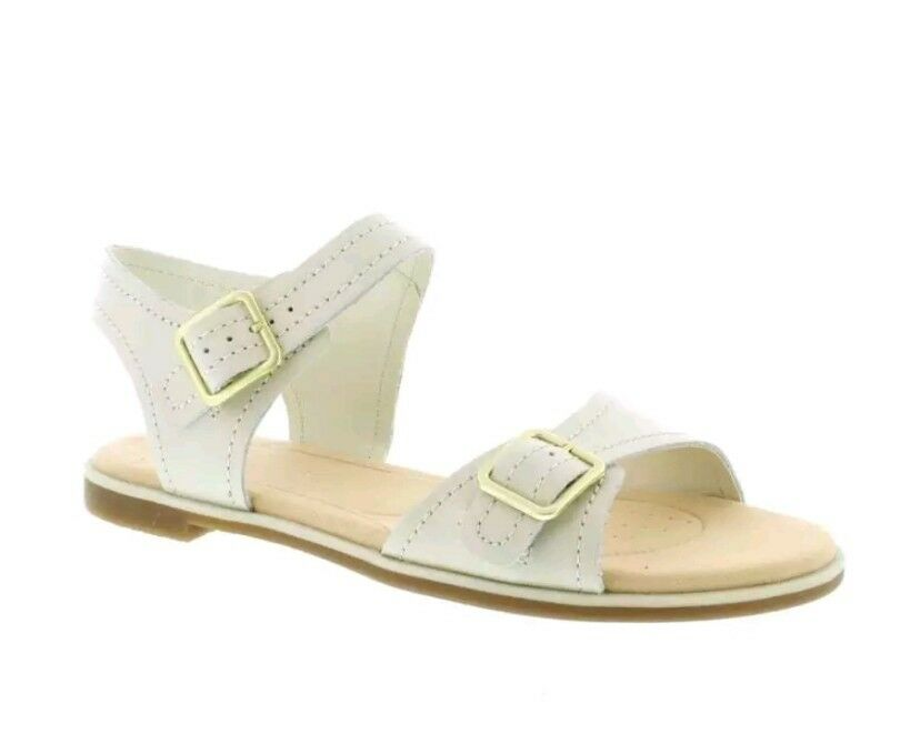 Clarks Bay Primrose Size - White Leather (Cream) Womens Sandals Size Primrose UK 4.5D 34209c