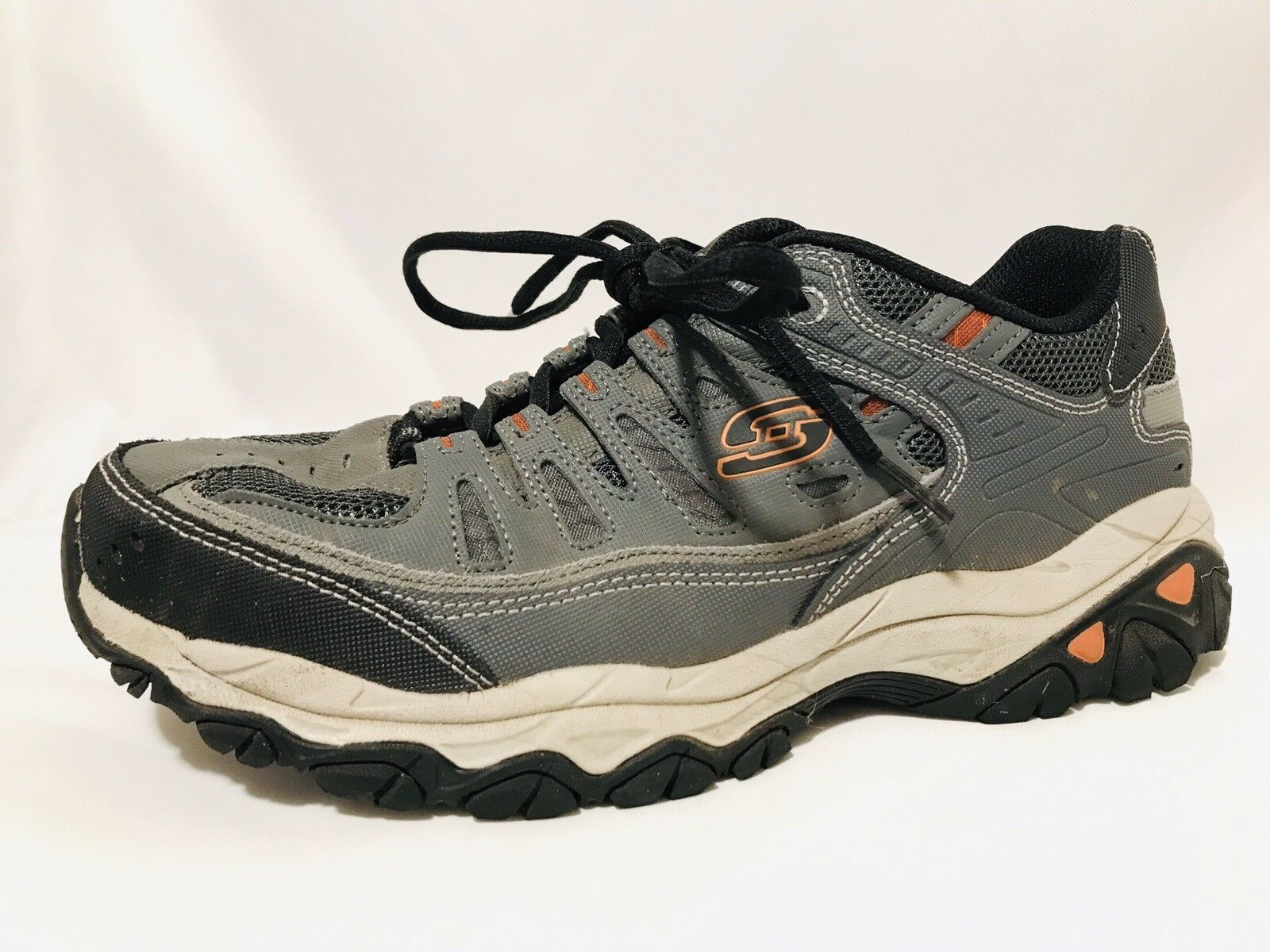 PREOWNED Skechers After Burn - Memory Fit Charcoal  Grey Mens Sneakers Size 9.5