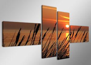 Tableau-Deco-Paysage-Mer-Ocean-Nature-4-partie-Image-sur-toile-160-x-70cm