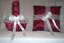 CANDY APPLE RED SATIN / WHITE LACE TRIM FLOWER GIRL BASKET & RING BEARER PILLOW