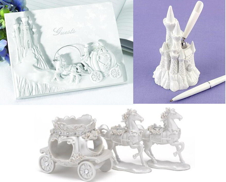Once Upon a Time Cendrillon Mariage Livre d'or, Stylo Set & Bougie Stands