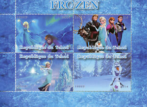 Ambitieux Tchad 2014 Cto Frozen Elsa Olaf 4 V M/s Disney Animation Caricatures Timbres