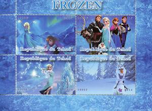 Tchad 2014 Cto Frozen Elsa Olaf 4 V M/s Disney Animation Caricatures Timbres-afficher Le Titre D'origine Les Catalogues Seront EnvoyéS Sur Demande