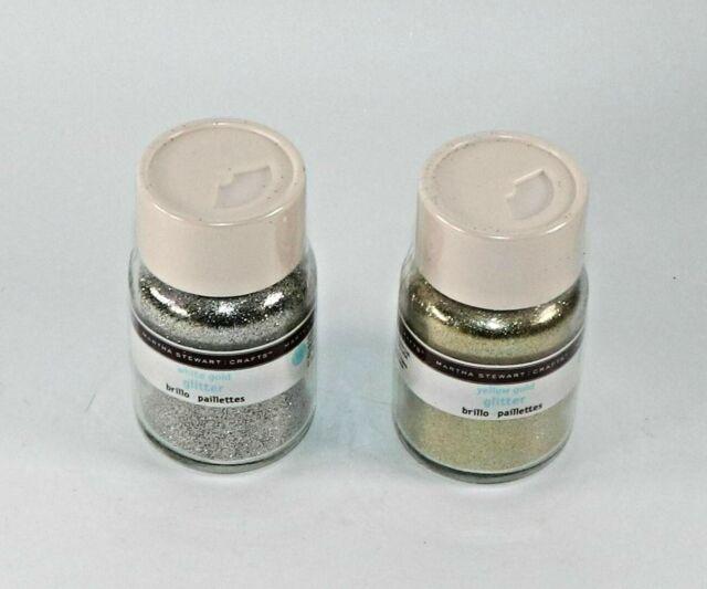 2 bottles 1.5 oz Martha Stewart Crafts Glitter - 1 White Gold 1 Yellow Gold