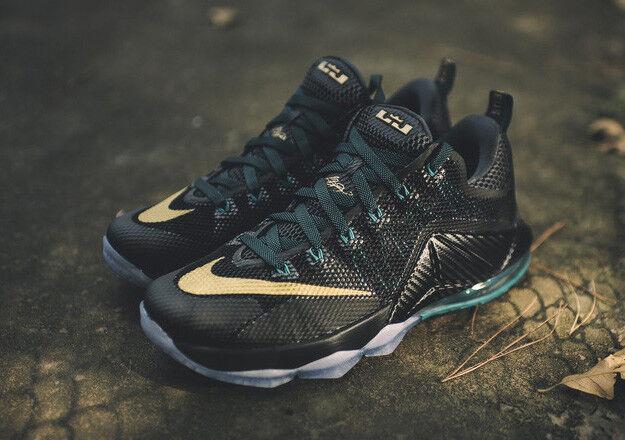 Nike LeBron 12 XII Low SVSM Metallic GOLD Black Carbon Fiber 8.5 Ice 724557-070