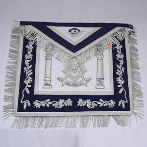 Masonic-Past-Master-Hand-Embroidered-Silver-Bullion-Apron-Navy-Blue-Velvet-WLC