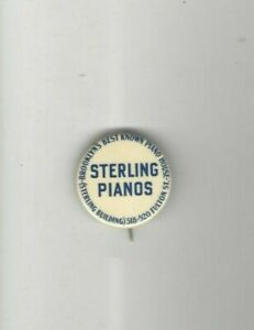 Early-1900s-pin-STERLING-PIANO-pinback-BROOKLYN-Fulton-Street-button