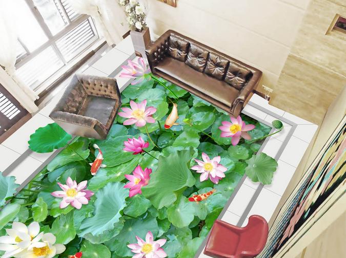 3D Lotus Leaves Tiles 77 Floor WallPaper Murals Wall Print Decal AJ WALLPAPER US
