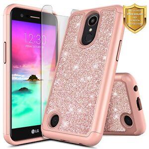 new concept 7e5ba ef09f Details about LG K20 Plus / LG K20 V Glitter Bling Slim Hybrid Case Cover +  Screen Protector