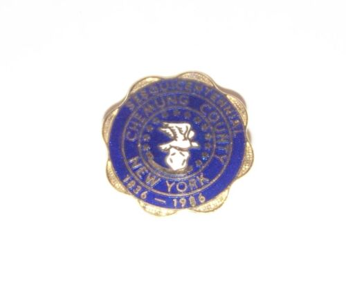 18361986 Chemung County NY 150th Anniversary lapel badge pin Sesquicentennial