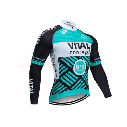 Mens Long Sleeve Cycling Jersey Jacket Bicycle Breathable Racing Quick Dry Top