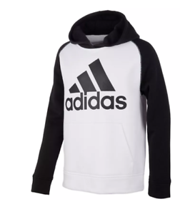 Details about Adidas Sweatshirt Big Boys Small New White Cotton Fleece Long Sleeve Hooded