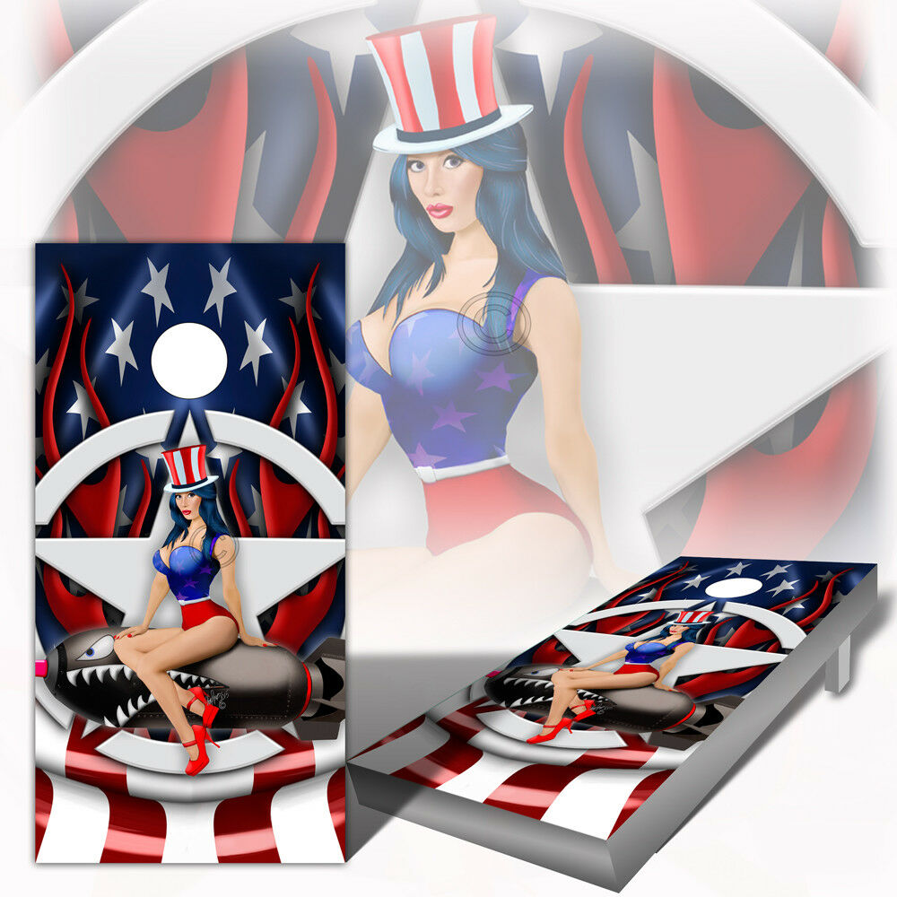 Cornhole Wrap PinUp Bomber Nose Art  Set of 2  mat ng Decal Sheets  the latest