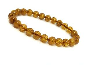 Natural-BALTIC-AMBER-BRACELET-Round-Beads-Glossy-Elastic-Gift-Jewelry-5-9g-12716