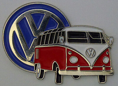 DOUBLED PINNED.--- E010901 VW KOMBI VAN LAPEL // HAT PIN BADGE RED