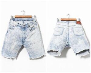 Vintage-Herren-Levis-501-Jeans-Denim-Shorts-gefaerbt-hellblau-Groesse-34