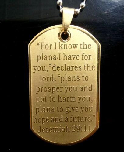 20pcs Nouveau gravé argent or Jérémie 29:11 Bible Verset Jésus Collier Pendentif