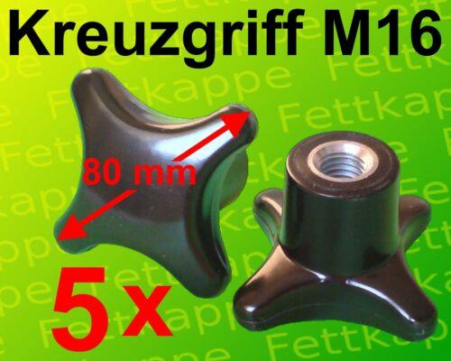 5 x Kreuzgriffmutter M16 Griff Ø 80 mm Kreuzmutter Feststellmutter Kreuzgriff