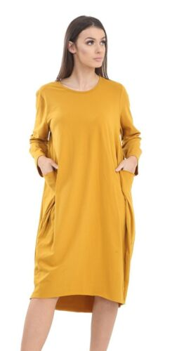 Ladies Baggy Pocket Dress Lagenlook Womens Turn Up Sleeve Plus Size Outfit