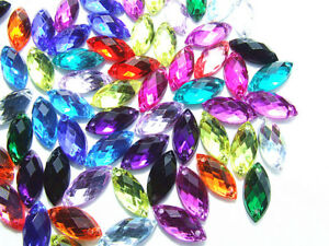 240-Mixed-Marquise-Faceted-Bead-Acrylic-Rhinestone-Gem-7x15mm-Flatback-Sew-On