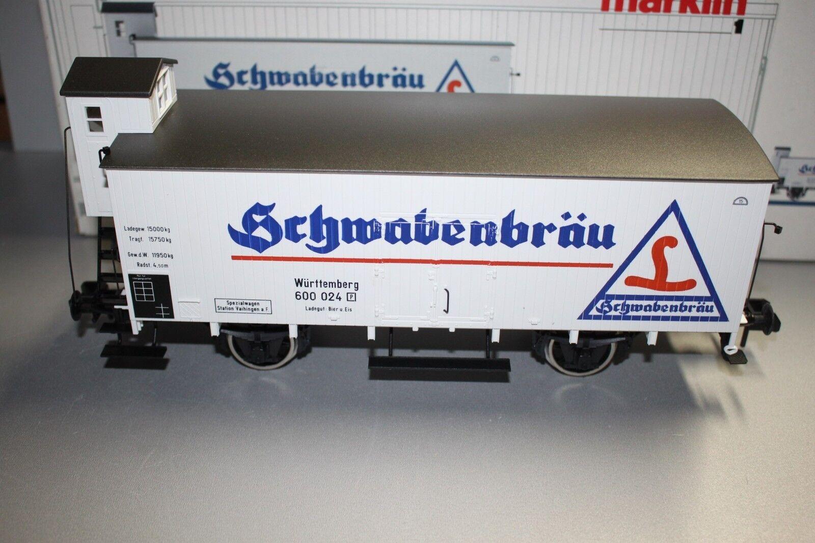 Märklin 5831 2-Achser Vagone Trasporto Birra Schwabenbräu Würtemberg Scala 1 Ovp