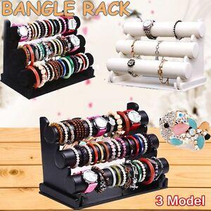 3 Tier Velvet Leatherette Jewelry Bracelet Watch Display