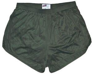 Soffe-Olive-Drab-Nylon-Ranger-Panties-Silkies-Running-Track-Shorts-Men-039-s-XL