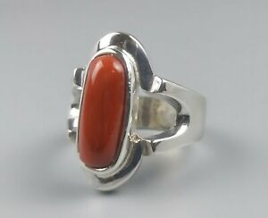 Natural-Unheated-Deep-Red-Coral-Sterling-Silver-925-Handmade-Marjan-Mens-Ring