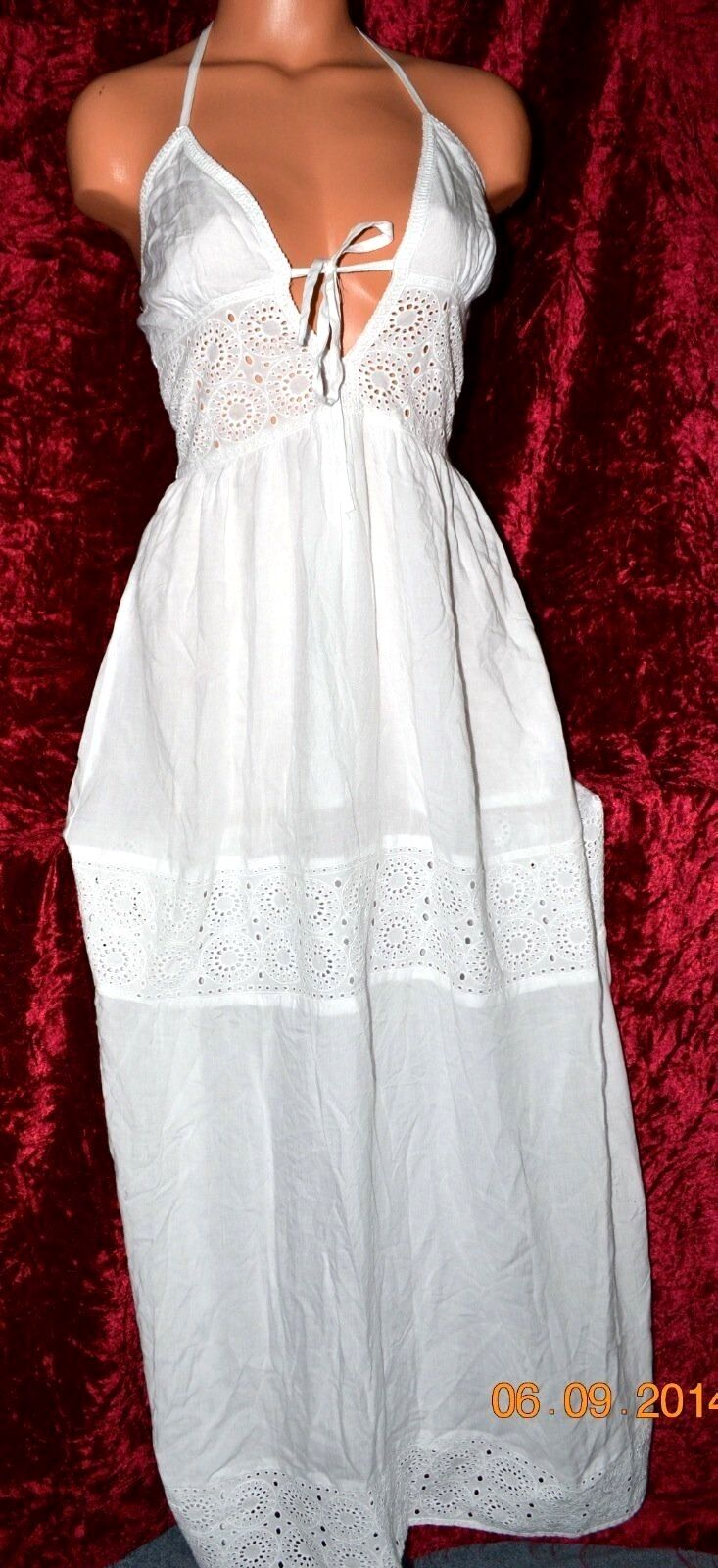 100 Victorias Secret Supermodel Summer White Cotton Cover up Maxi Dress NWT 6