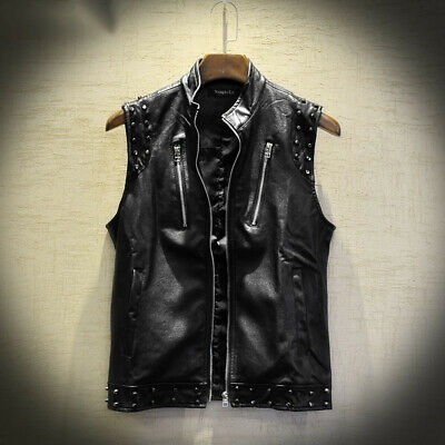 Genuine Leather motorcycle Vest Gilet Rock punk Mens Casual Thicken Waistcoat
