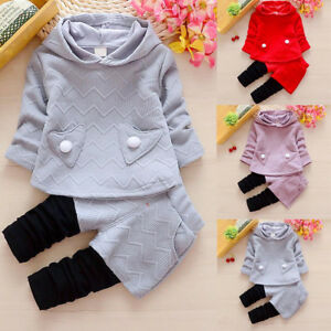 Toddler-Kids-Baby-Girls-Outfits-Clothes-T-shirt-Tops-Dress-Long-Pants-2PCS-Sets