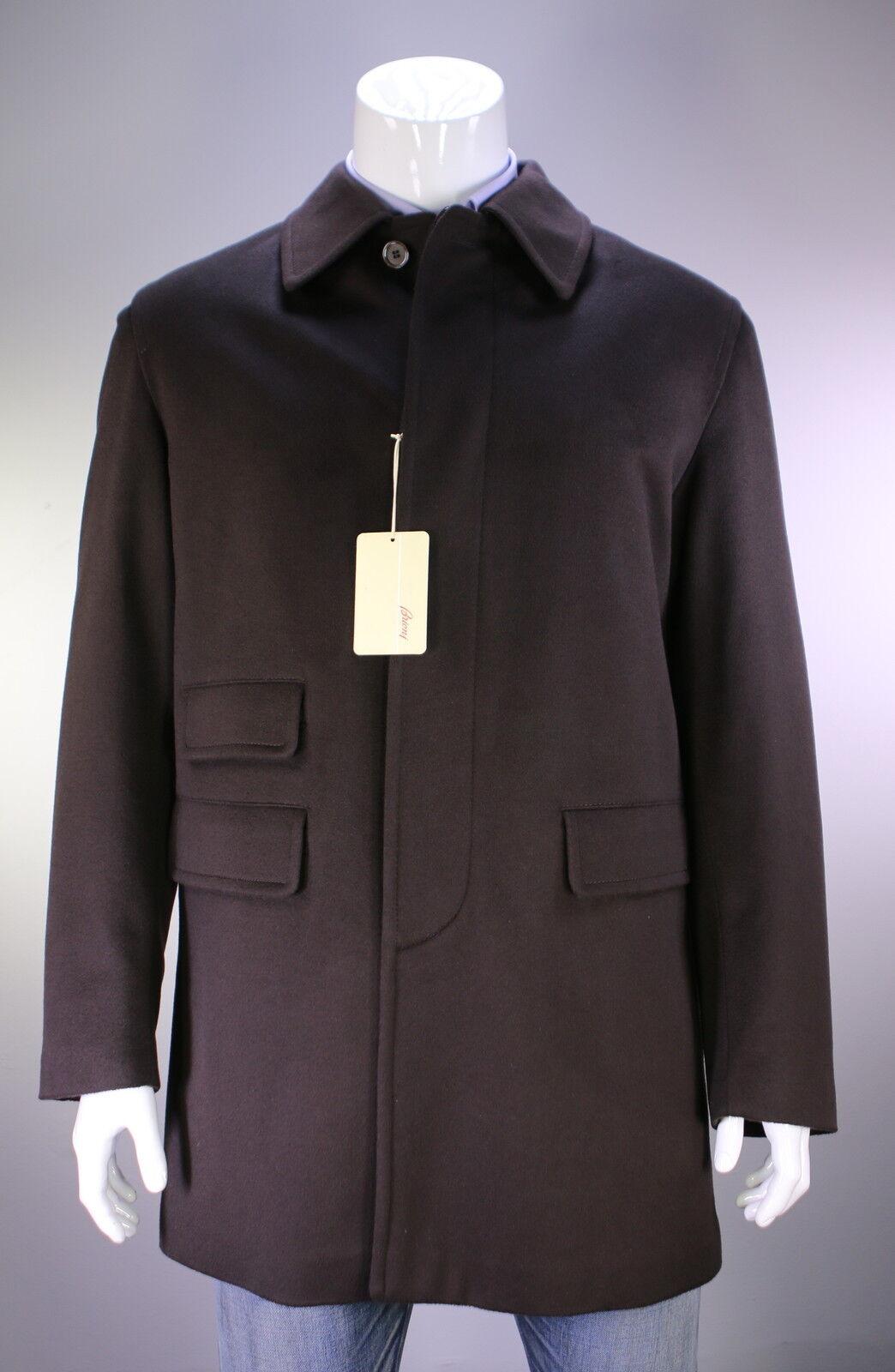Nwt Neu Brioni Brioni Brioni 2017 Braun Wool-Leather 3 4 Länge 3-BTN Mantel XL     | Moderner Modus  1232c5