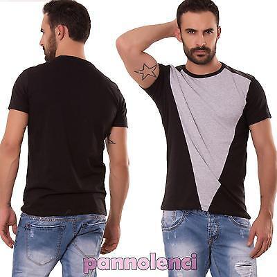 Maglia uomo maniche corte maglietta bicolore t-shirt ecopelle casual nuova 1486