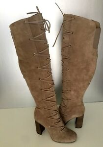 09d8ff7a379 Vince Camuto Thanta Taupe Lace-Up Over The Knee Foxy True Suede ...