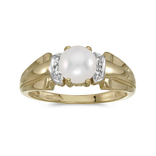 14k Yellow gold Cultured Freshwater Pearl & Diamond Ring (CM-RM1041X-06)