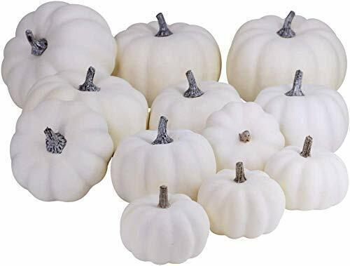12Pcs Blanco Artificial calabazas Set Surtido de imitación cosecha calabazas para otoño