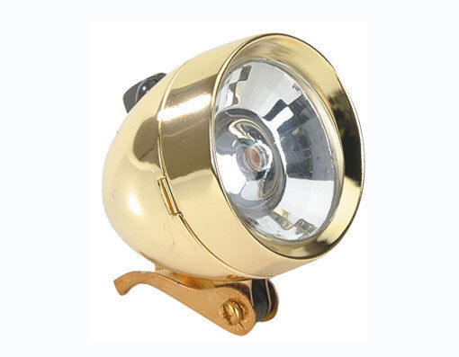 gold Classic Bicycle Bullet Headlight 1Bulb or LEDs Cruiser Lowrider Bikes