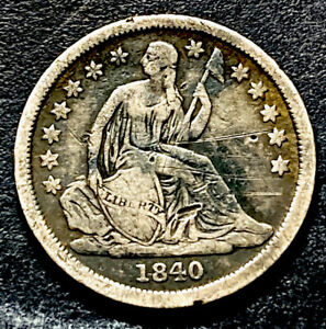 1840 Seated Liberty Silver Dime 10c No Drapery Better Date Type Coin