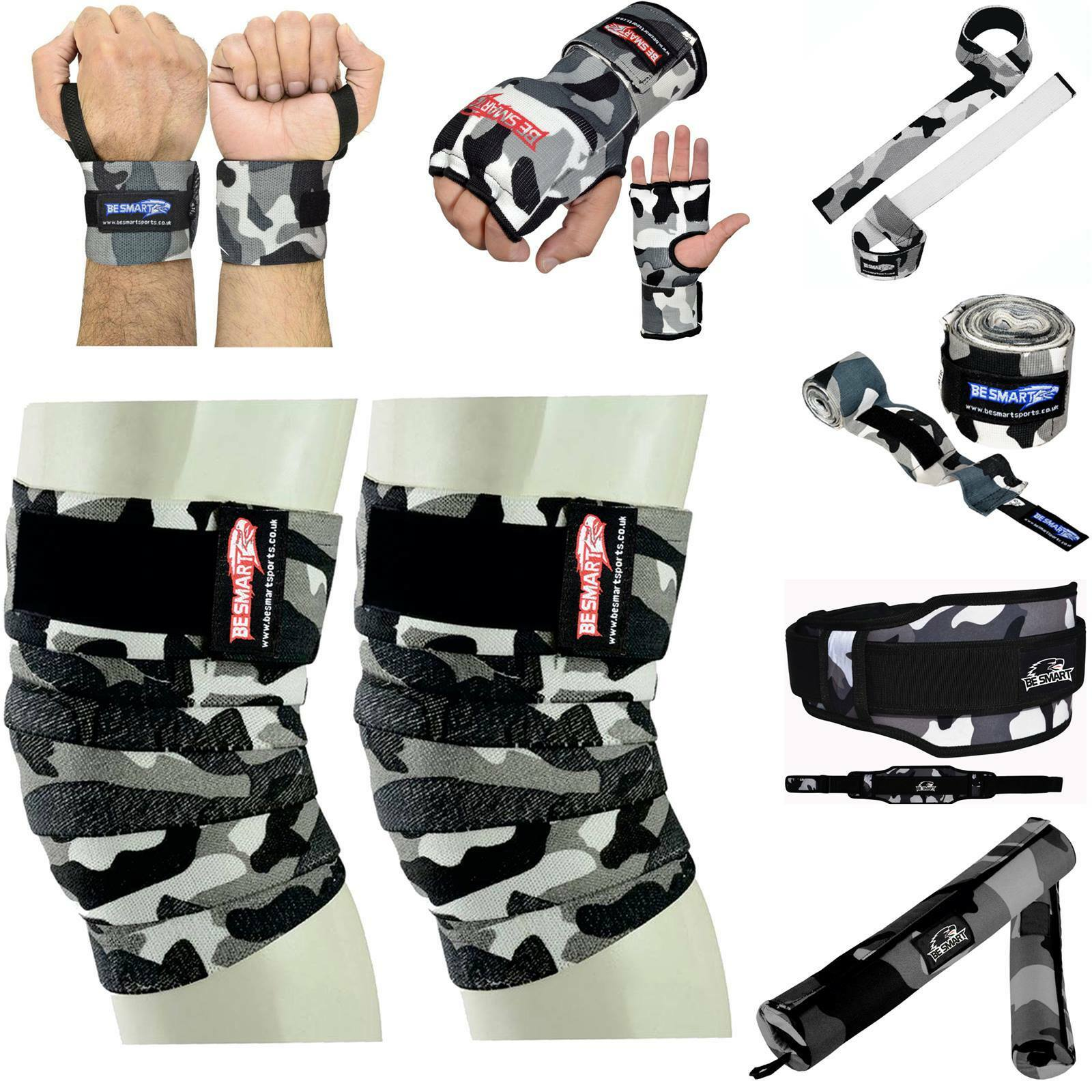 BE SMART Knee Wraps Peso Sollevamento Cinghie Cinghia Barbell polso Wraps energialifting