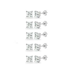 5-Pair Set Sterling Silver White Topaz Princess-Cut 5mm Square Stud Earrings